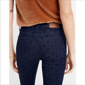 Madewell High Rise Skinny Flocked Dots NWT $158